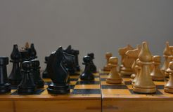 Vintage chess - board game, black figures Stock Photos