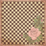 Vintage chess board with rose. Vector illustration Stock Photos