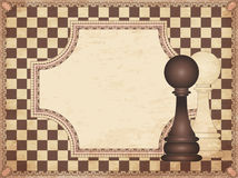 Vintage chess card with two pawns Stock Image