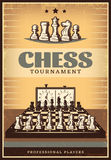 Vintage Chess Competition Poster. With lettering figures on chessboard before game and clock vector illustration Vector Illustration
