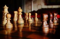 Vintage Chess Pieces Closeup Wooden Piece Leisure Game stock photos