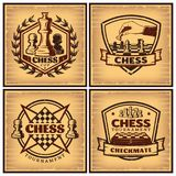 Vintage Chess Tournament Posters. With inscriptions figures and chessboards on light background isolated vector illustration vector illustration