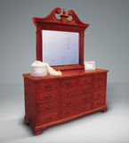 Vintage chest of drawers with mirror stock image