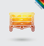 Vintage chest of drawers vector. stock illustration