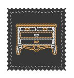 Vintage chest of drawers vector, old fancy ornament. Chest of drawers icon on black backround vector illustration