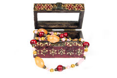 Vintage chest with jewels Royalty Free Stock Image