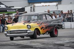 Vintage chevrolet drag car. Front side view of vintage Chevrolet drag car go to the track during the john scotti all out august 17, 2017 Stock Photos