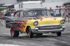 Vintage chevrolet drag car on the track. Front side view of vintage Chevrolet drag car on the track during the john scotti all out august 17, 2017 Stock Photography