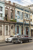 Vintage Chevrolet and Mercedes Benz fifties taxis Havana Royalty Free Stock Image