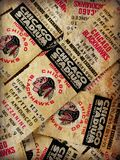 Vintage Chicago Blackhawks Tickets. Old-Time Hockey, Chicago Blackhawks 1981 phantom play-off tickets. Printed in event the Hawks made the second round of the stock photography
