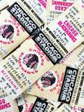 Vintage Chicago Blackhawks Tickets. Old-Time Hockey, Chicago Blackhawks 1981 phantom play-off tickets. Printed in event the Hawks made the second round of the stock image