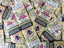 Vintage Chicago Blackhawks Tickets. Old-Time Hockey, Chicago Blackhawks 1981 phantom play-off tickets. Printed in event the Hawks made the second round of the royalty free stock photo