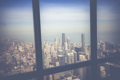 Vintage Chicago Skyline Aerial View Royalty Free Stock Images