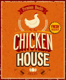 Vintage Chicken House Poster. . Royalty Free Stock Photos