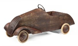Vintage childs toy pedal car on white background Stock Images