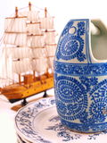 Vintage China. With wooden model sail ship royalty free stock image