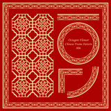 Vintage Chinese Frame Pattern Set 006 Octagon Curve Cross Flower Royalty Free Stock Photography