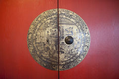 Vintage chinese red door Stock Photo
