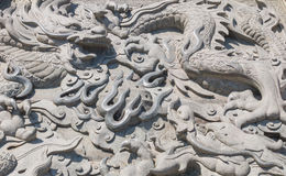 Vintage Chinese stone dragon statue Royalty Free Stock Photography