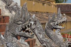Vintage Chinese stone dragon statue Royalty Free Stock Image