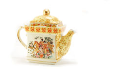 Vintage chinese teapot on white background Stock Photography