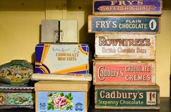 Free Vintage Chocolate Boxes UK Brands Royalty Free Stock Photos - 164089458