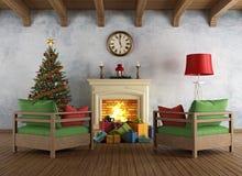 Vintage christams living room vector illustration