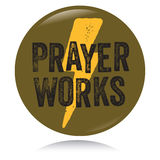 Vintage Christian button, Prayer works Royalty Free Stock Photo