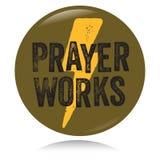 Vintage Christian button, Prayer works Royalty Free Stock Photo