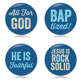 Vintage Christian buttons, blue Stock Images