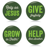 Vintage Christian buttons, green Stock Photo
