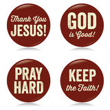Vintage Christian buttons, red