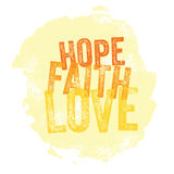 Vintage Christian design – Hope, Faith, Love Stock Images