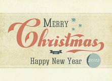 Vintage Christmas 2013. Merry Christmas and Happy New Year 2013 vintage card stock illustration
