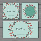 Vintage christmas backgorund on turquise color vector illustration