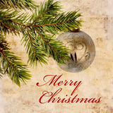 Vintage Christmas background. Christmas card design with decorative ball Royalty Free Stock Image