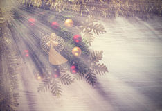Vintage Christmas background with angel, decoration on a wooden Stock Photography