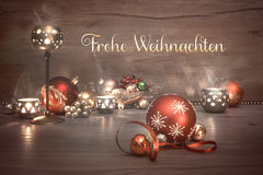 Vintage Christmas background with candles and decorations, text Royalty Free Stock Photography