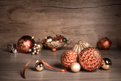 Vintage Christmas background with Christmas baubles on wood Royalty Free Stock Photos