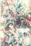 Vintage Christmas background. Christmas decorations on the mark Royalty Free Stock Image