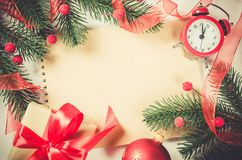 Vintage Christmas background with clock. Stock Photo
