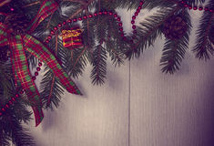 Vintage Christmas background with decorated branches of spruce Royalty Free Stock Photography
