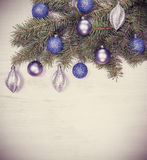 Vintage Christmas background, decoration on a white wooden board Royalty Free Stock Photo