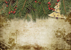 Vintage Christmas background with firtree and holly Stock Images
