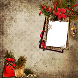 Vintage Christmas background with frame Stock Image
