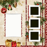 Vintage Christmas background with frame, gifts, pine branches and Christmas decorations Vector Illustration