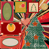 Vintage Christmas background with frames. And Christmas tree Vector Illustration