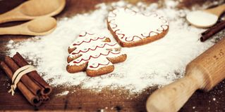 Gingerbread cookies ingidients and flour Royalty Free Stock Images