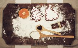 Gingerbread cookies ingidients and flour Stock Photos