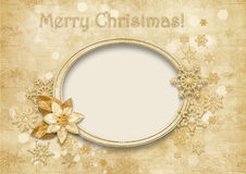 Vintage Christmas background with golden decorations Stock Photography